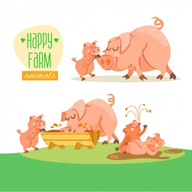 Cute happy pig family.