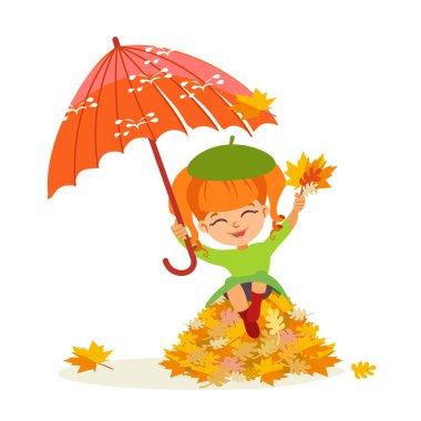 little girl with orange umbrella