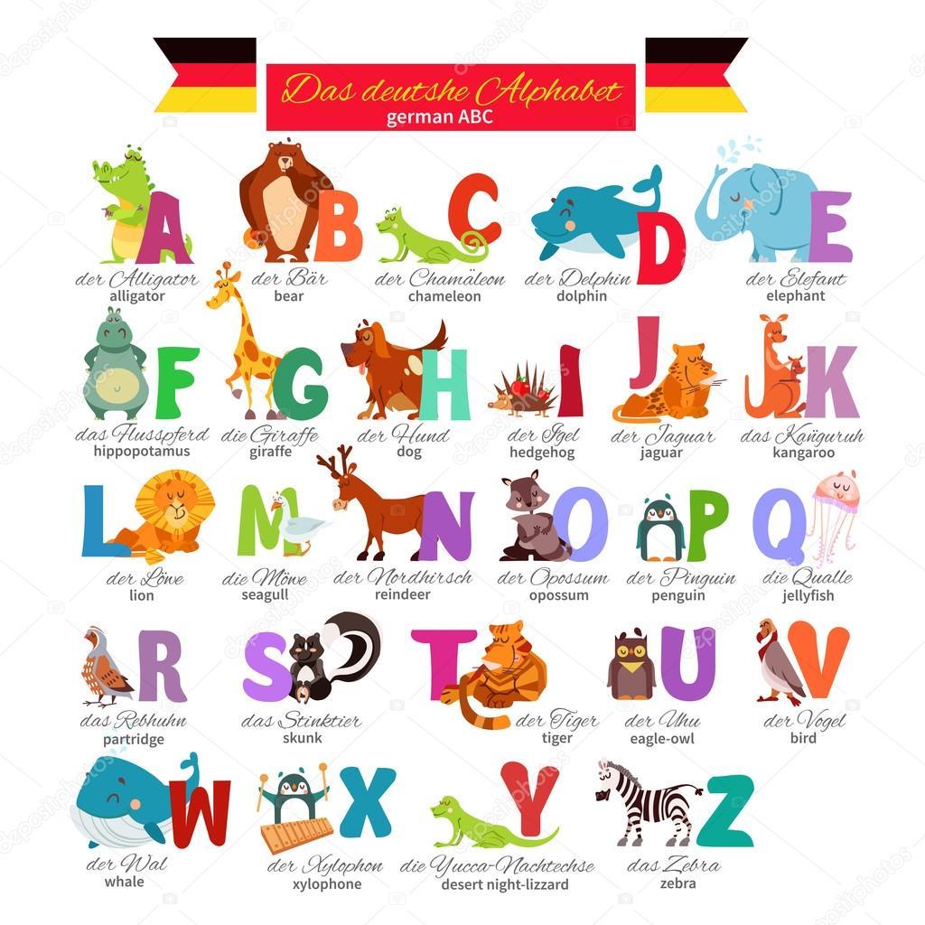 Alfabeto zoo illustrato tedesco - Grafica Vettoriale ...