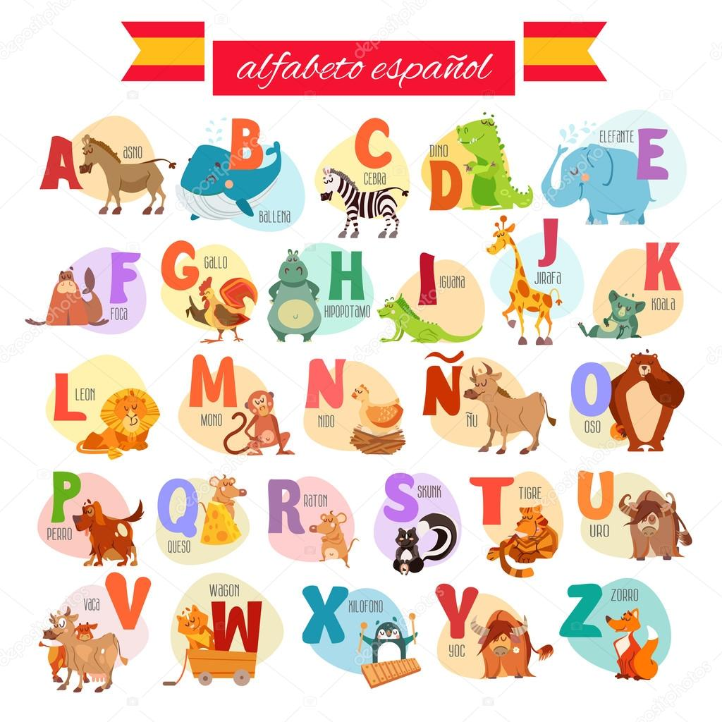 Alfabeto Ilustrado Espanhol De Desenhos Animados Vetores De Stock  -> Desenhos Para Alfabeto Ilustrado