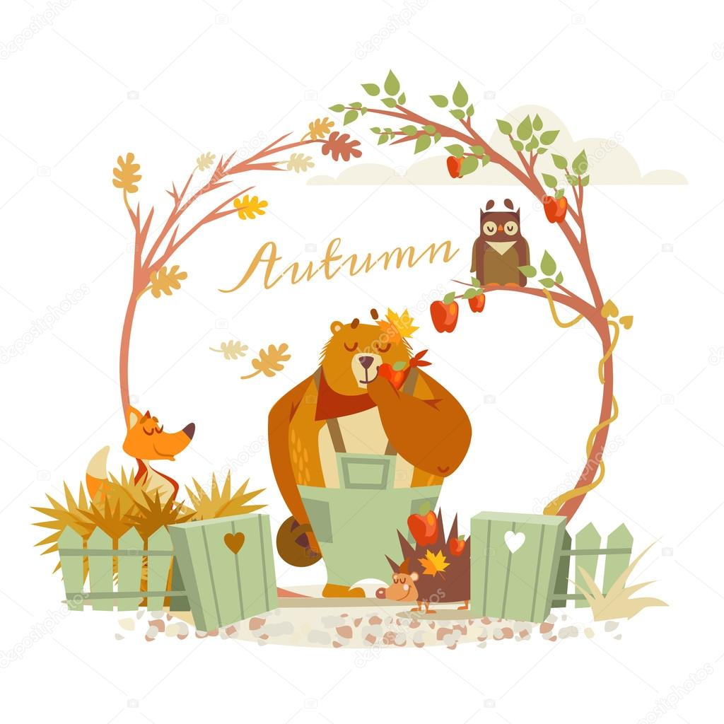 forest animals at autumn