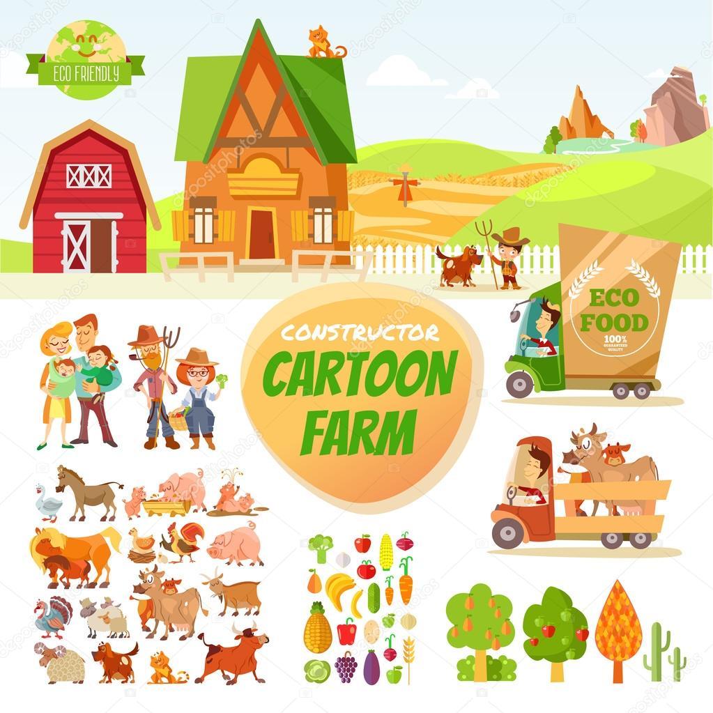Big set of cartoon farm