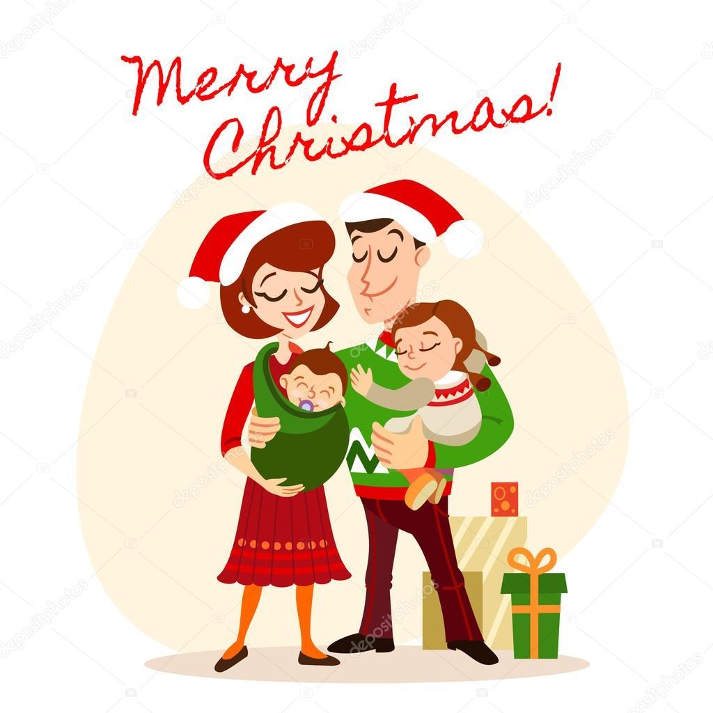 Buon Natale Famiglia.Famiglia Festeggia Il Natale Vettoriali Stock C Funnyclay 103125122