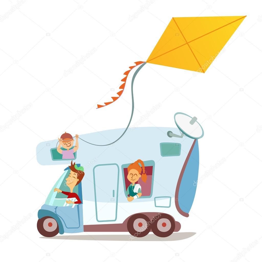 Cartone animato della famiglia viaggia in roulotte