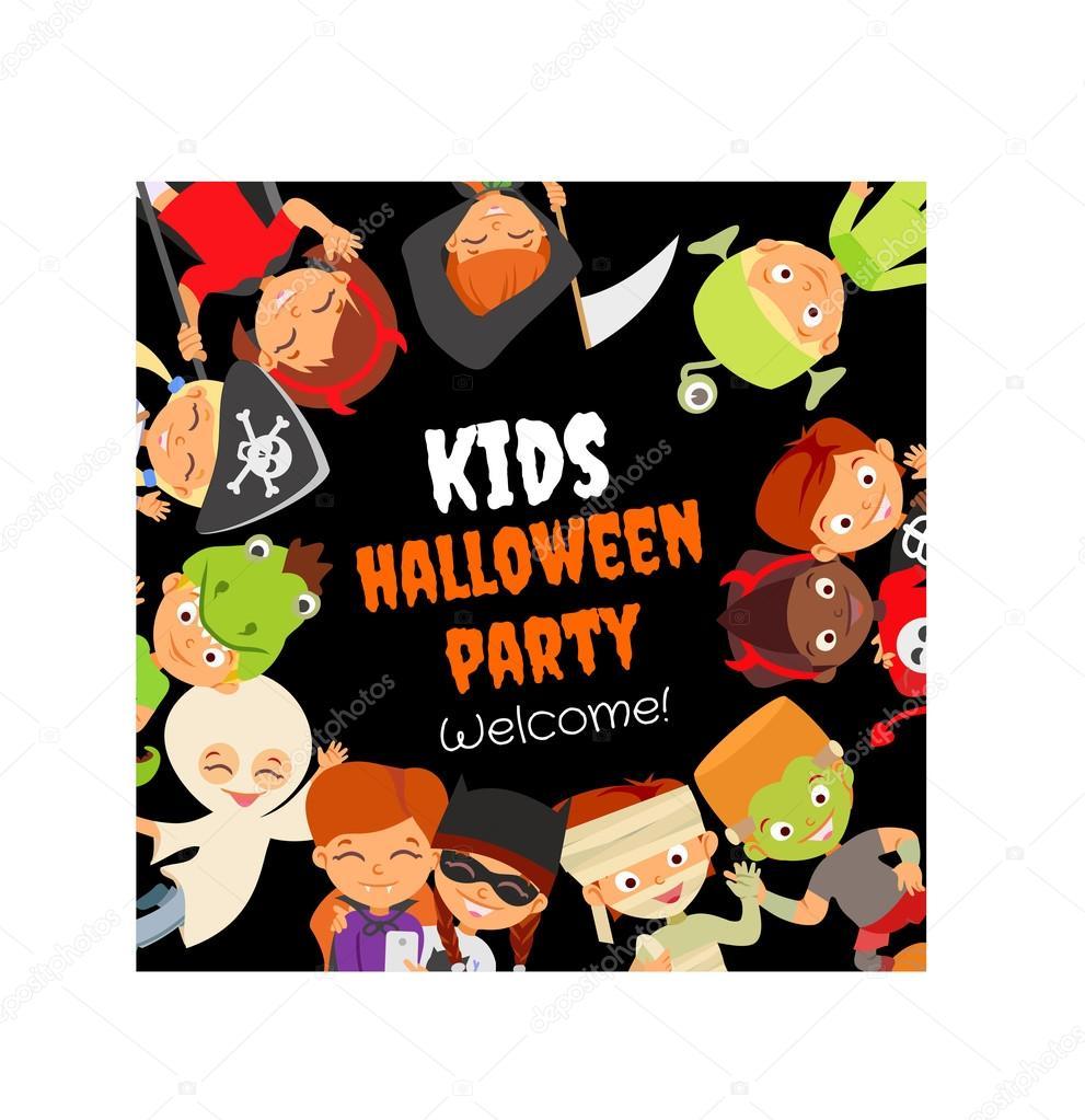 Concept with happy halloween kids — Stock Vector © funnyclay ...