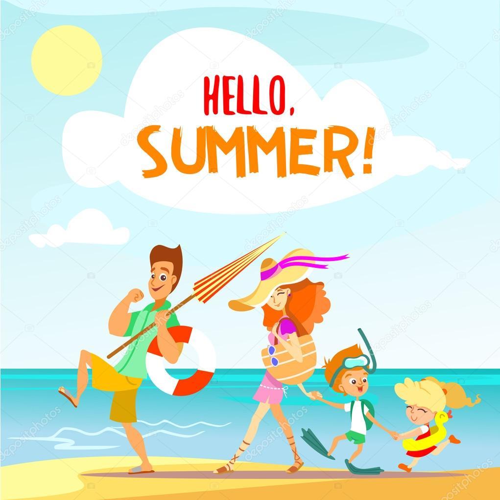 family enjoying summer vacation — Stock Vector © funnyclay ...