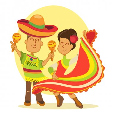 dancing mexicans in national costumes