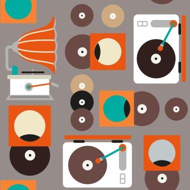 retro music seamless pattern