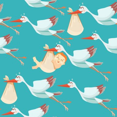pattern with storks bringing newborns.