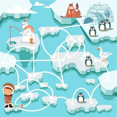 Cute cartoon north pole maze game