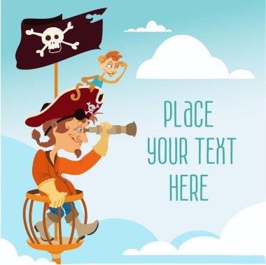Cute cartoon pirate man