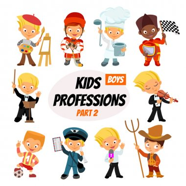 cute cartoon professions for kids