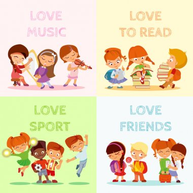 Back to school.Big set of cute cartoon children,pupils,boys and girls.Kids in various poses and actions:playing music,singing,jumping,smiling with friends,writing,reading. Vector icon set isolated stock vector