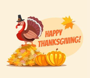 thanksgiving banner with turkey in pilgrim hat