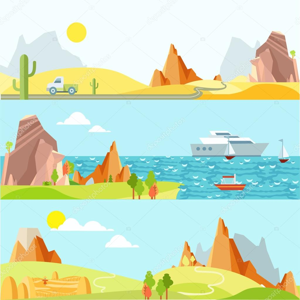 Natural landscapes in flat style.