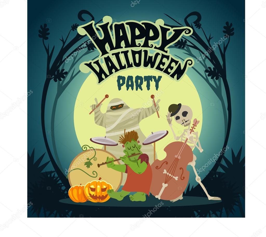 Music band playing at halloween party — Stock Vector © funnyclay ...