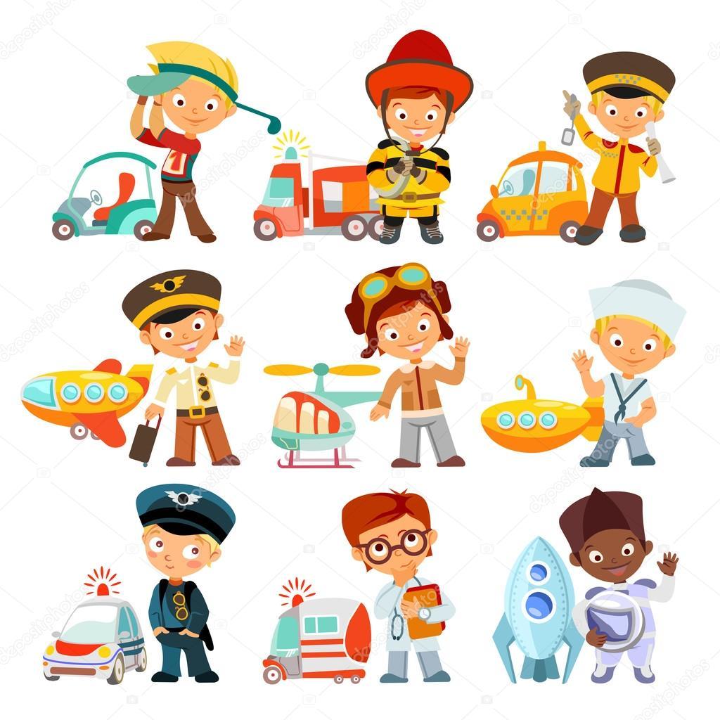 Niños En Diversas Profesiones Con Vehículos — Vector