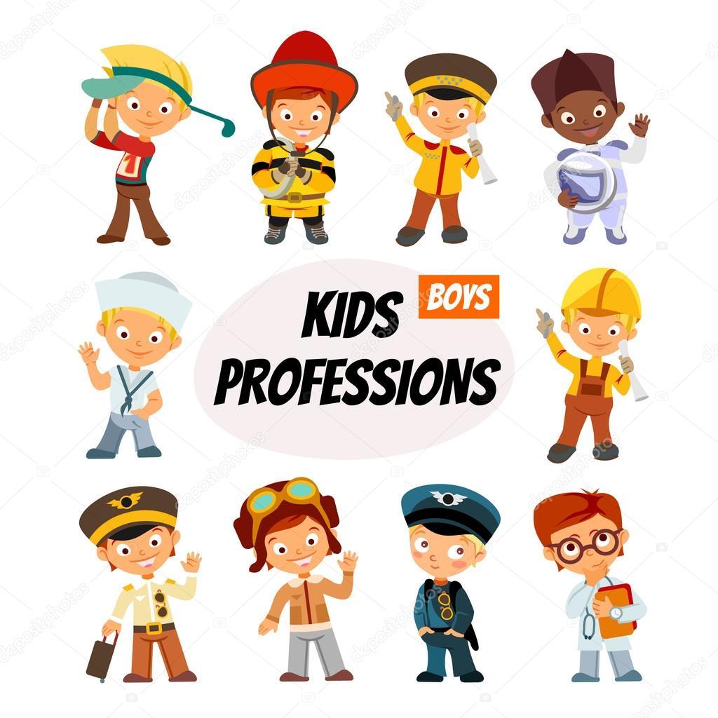 Crianças Dos Desenhos Animados Em Várias Profissões