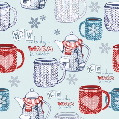 Seamless hand drawn tea pattern with knitted objects and snowflakes. Vector illustration stock vector