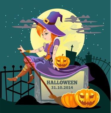 witch sitting on a big halloween pumpkin