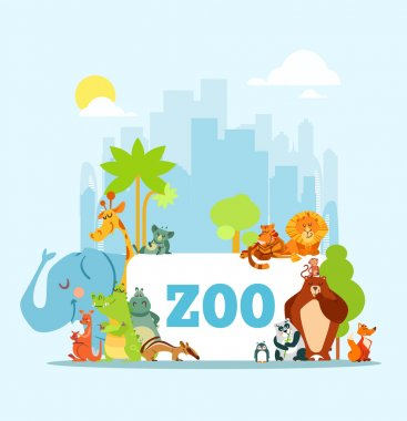 Set of cute cartoon zoo animals