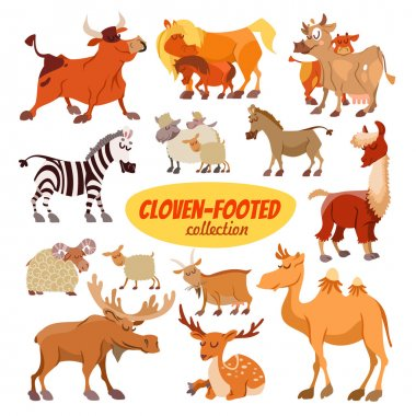 Set of cartoon cloven footed animals