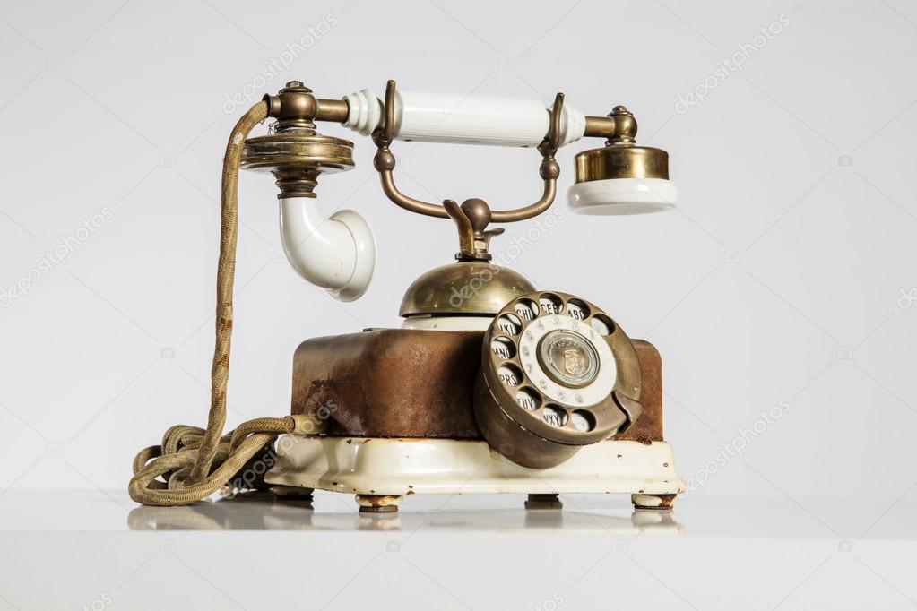 Old Phone, old telephone isolated on white  — Stock Photo
