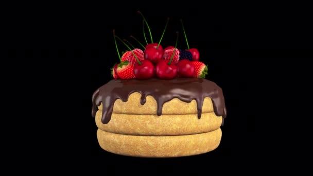 Torta Keksz Gyümölcsök Alpha Channel Looped Videó