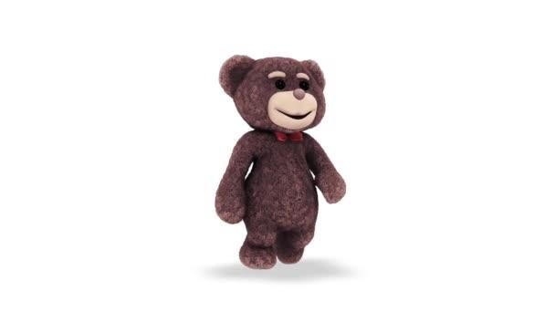 Teddy Bear Walking Loop fehér háttér