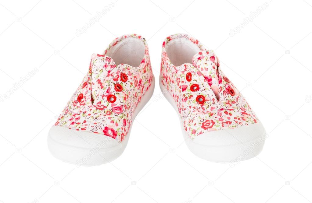3aec7acaa21 Πάνινα παπούτσια ροζ κορίτσι μωρό με άνθη μοτίβο — Φωτογραφία Αρχείου