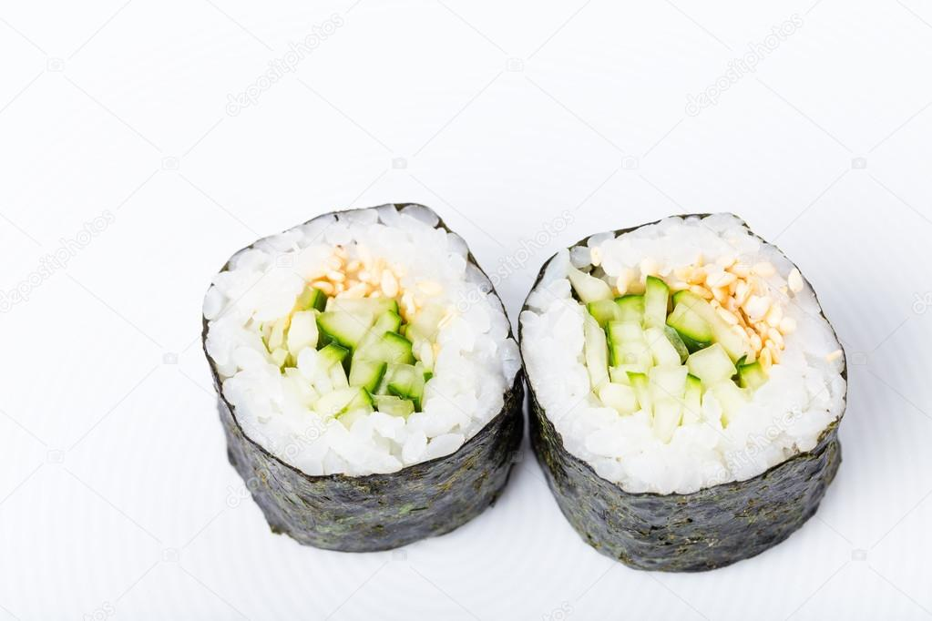 Vegetarian Japanese Sushi Roll With Cucumber Stock Photo