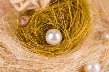 Decorative round pearls. Close up.