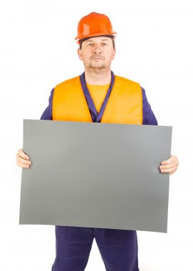 Worker with blank paper.