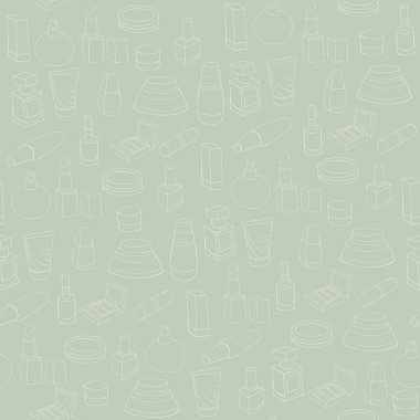 Seamless pattern with cosmetics