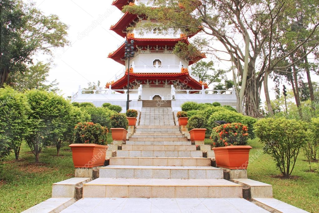 Asian garden with traditional architecture