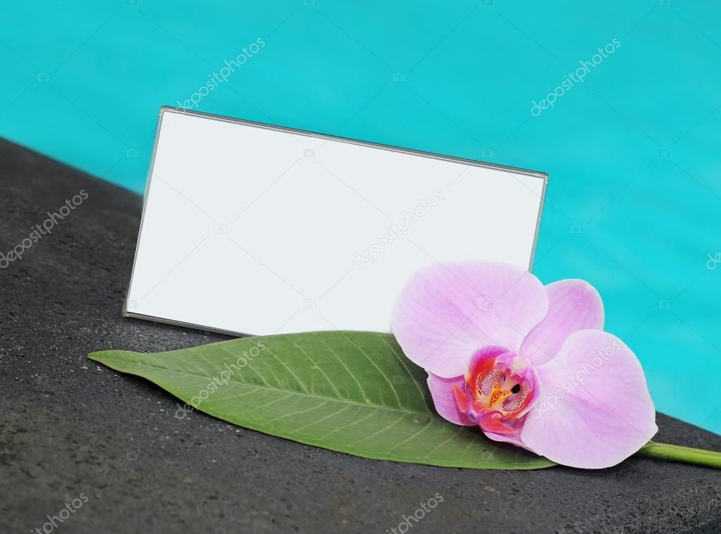 Card and flower orchid and a card with space for your text
