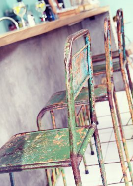 Furniture in the restaurant in the style of Shabby Chic. Instagram filter vintage effect