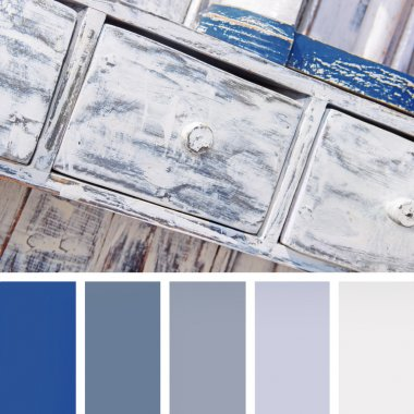 shabby chic furniture,  color palette swatches. pastel hues