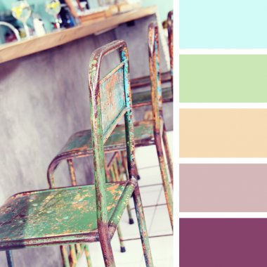 the furniture in the restaurant.  color palette swatches.