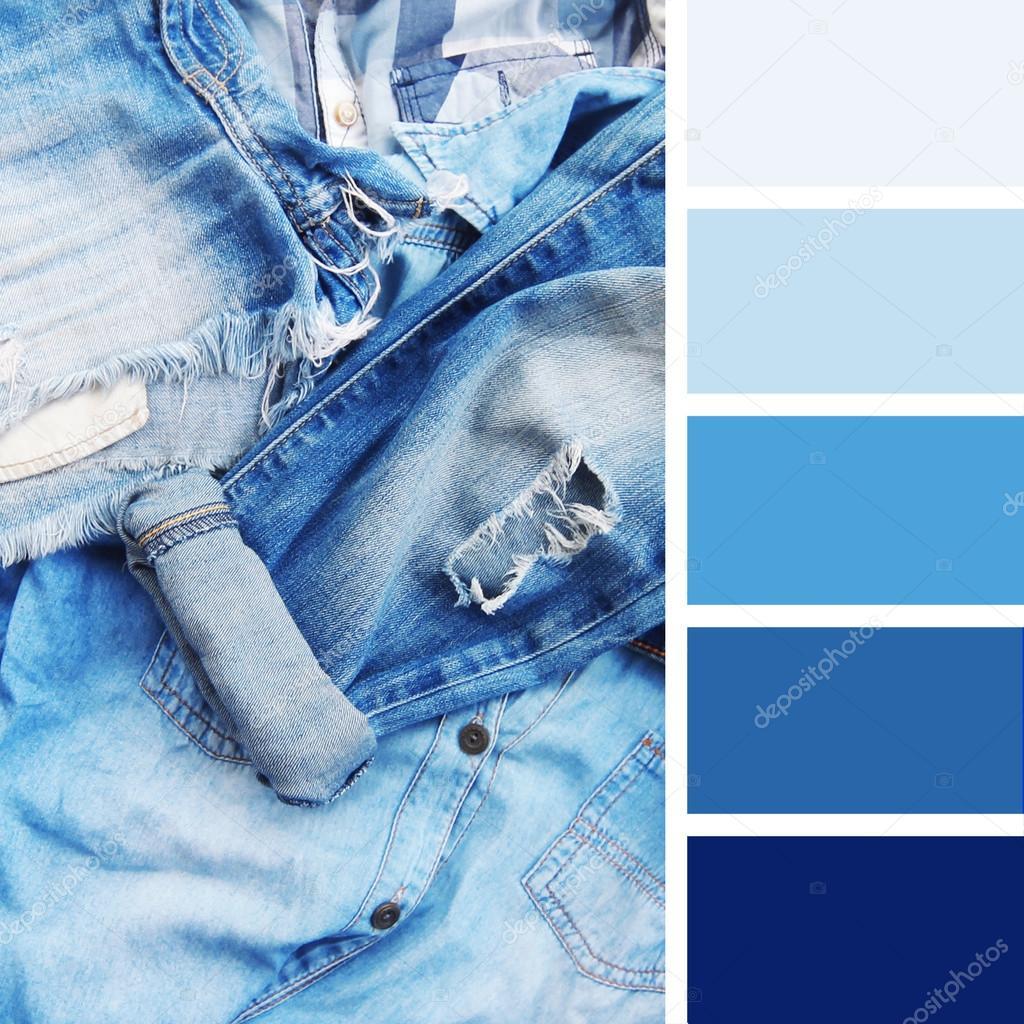 4a9c4e3b4a Textura de pantalones vaqueros color paleta muestras. tonos pastel — Fotos  de Stock
