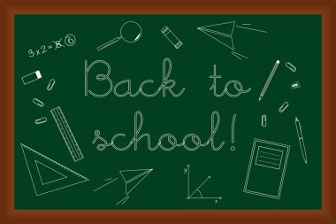Back to school doodles set on green chalk board, vector illustra