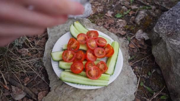 Mädchen salzen geschnitten frisches Gemüse am Lagerfeuer. Zeitlupenaufnahmen.