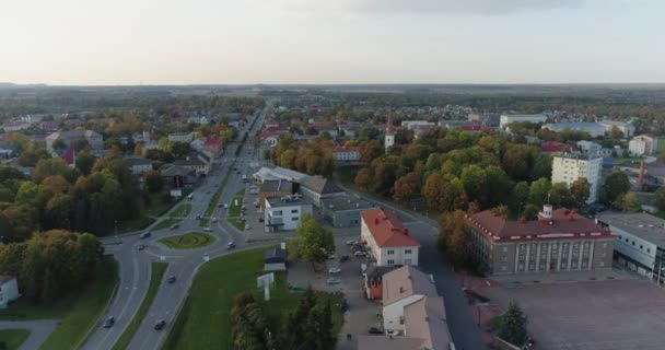 Aerial footage of city traffic, cars and buses on the road. Estonia.