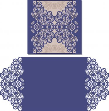 Paper cut out card. Laser cut pattern for invitation card for wedding. Paper cutouts. Wedding invitation template. stock vector