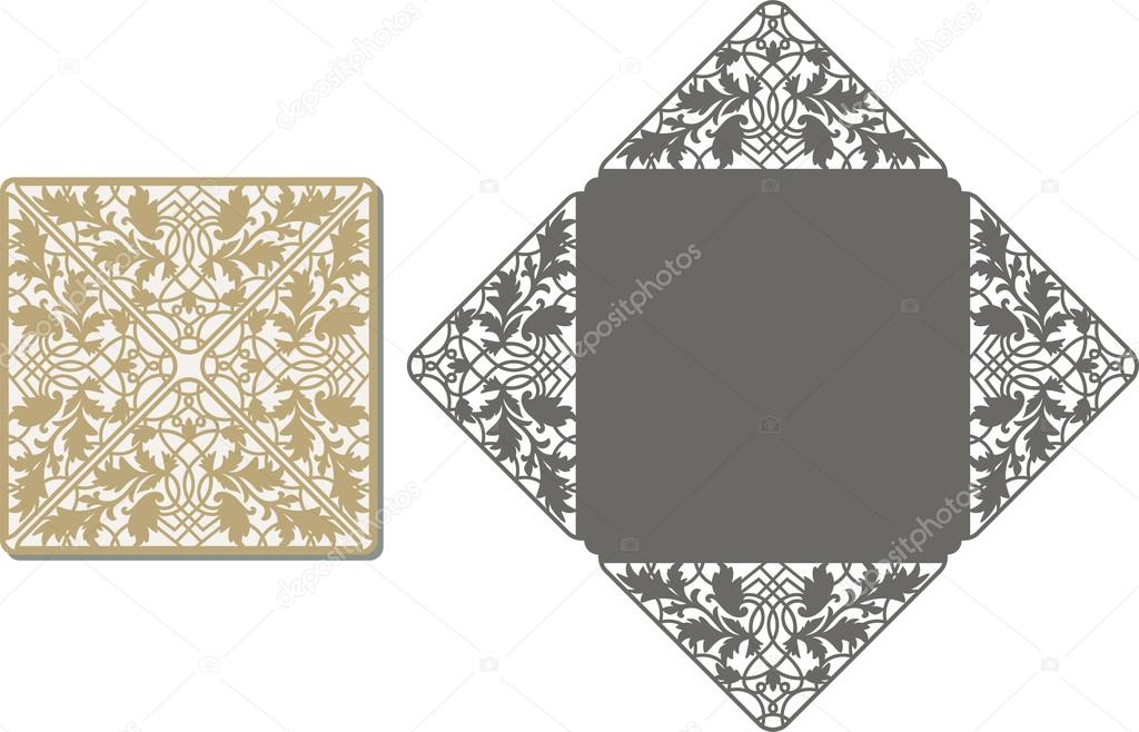 Laser Cut Envelope Template Invitation Wedding Card  Stock Vector