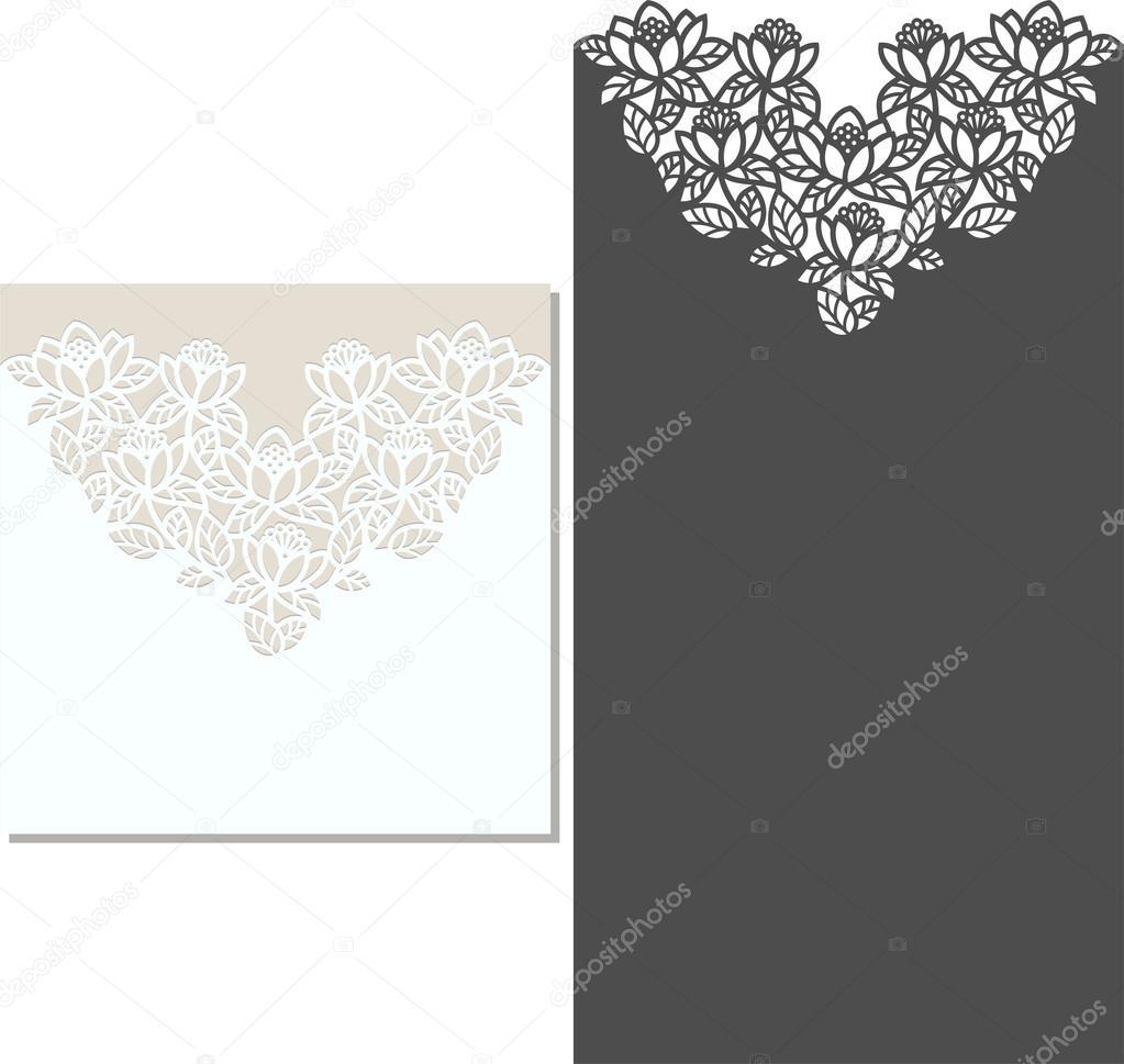 Plantilla de sobres para invitación de boda del corte del laser ...