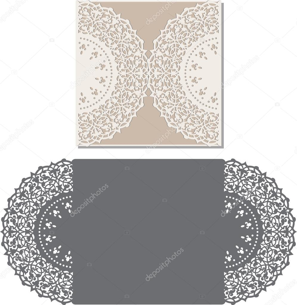 Laser cut envelope template for invitation wedding card — Stock ...