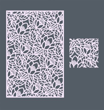 Laser cut vector panel and the seamless pattern for decorative panel. A picture suitable for printing, engraving, laser cutting paper, wood, metal, stencil manufacturing. stock vector