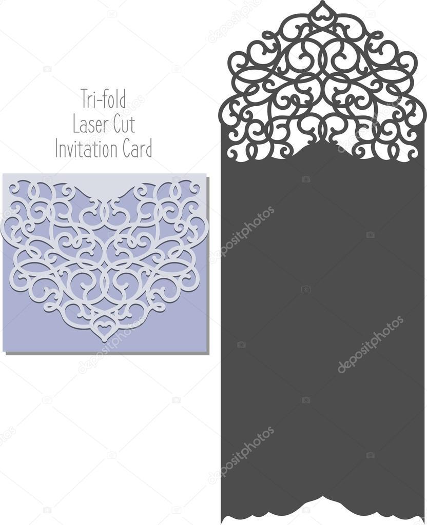 Laser Cut Envelope Template For Invitation Wedding Card Stock - Wedding invitation envelope design templates