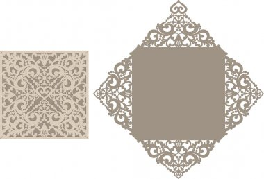 Laser cut envelope template for invitation wedding card